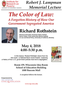 Event Poster for The Color of Law with Richard Rothstein