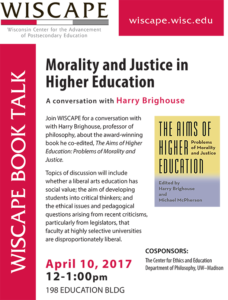 Event Poster for Morality and Justice in Higher Education