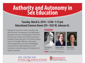 Event Poster for Authority and Autonomy in Sex Education